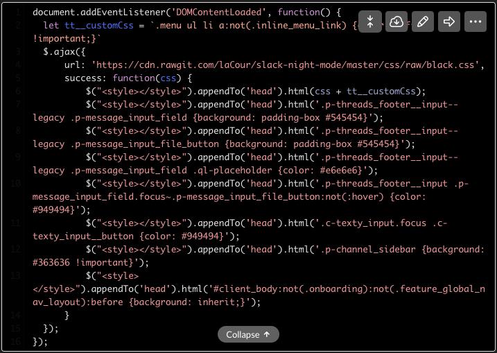 Slack-dark-mode-code snippets numbers missing