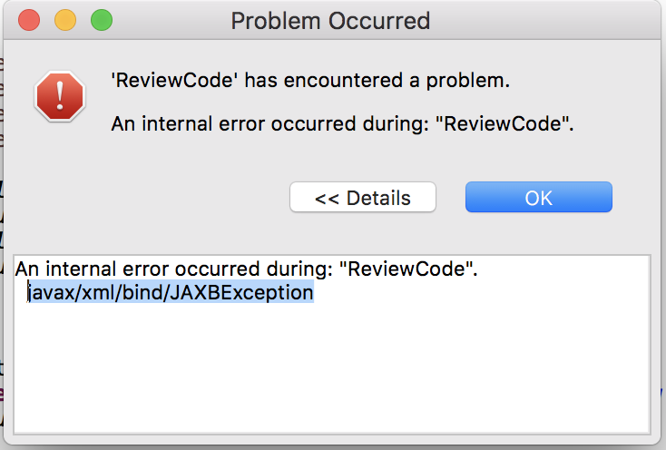 Review code has encountered a problem