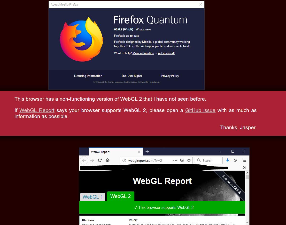 WebGL error but my browser supports WebGL2 · Issue #61