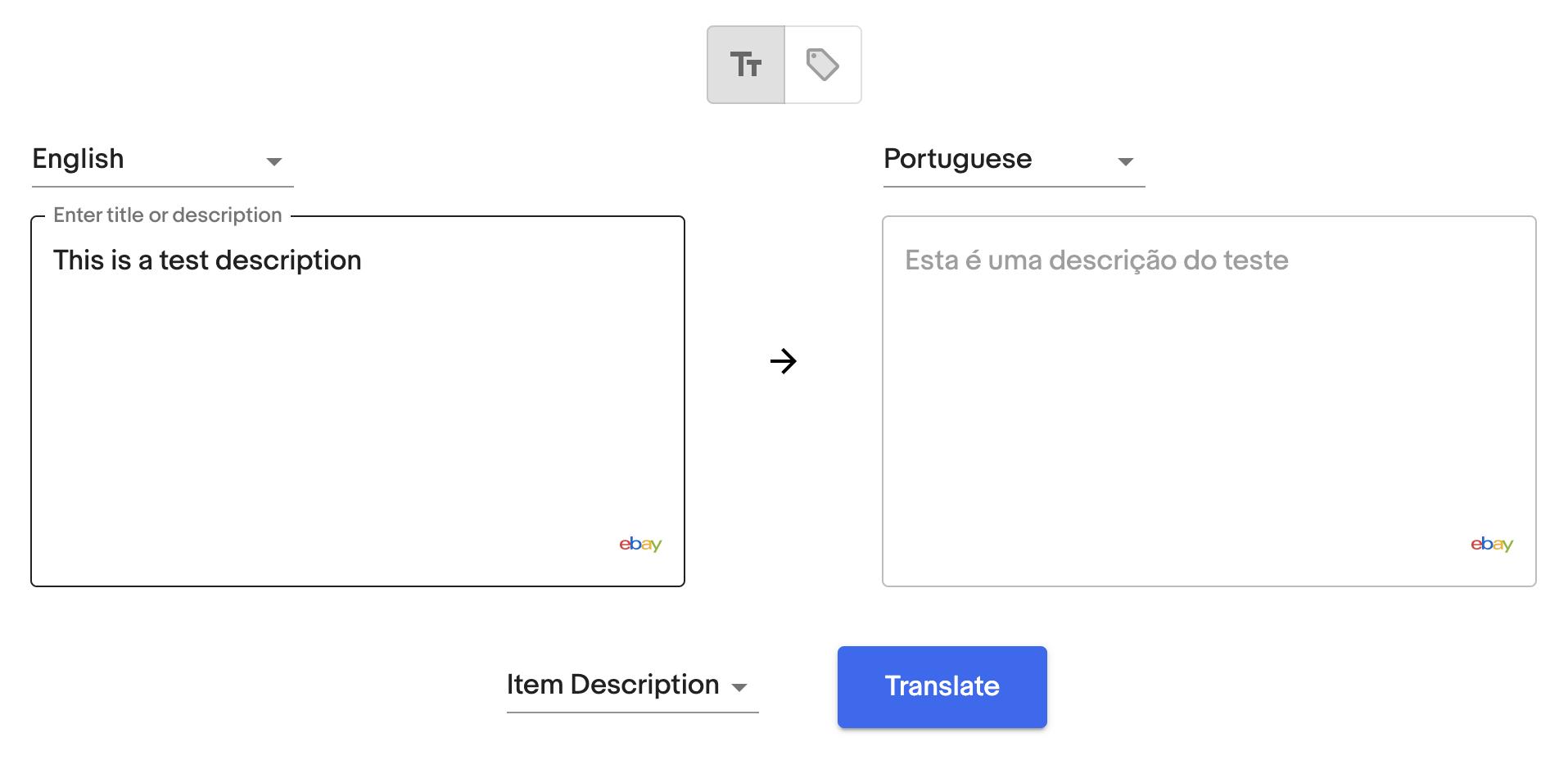 Translation by Text - Description
