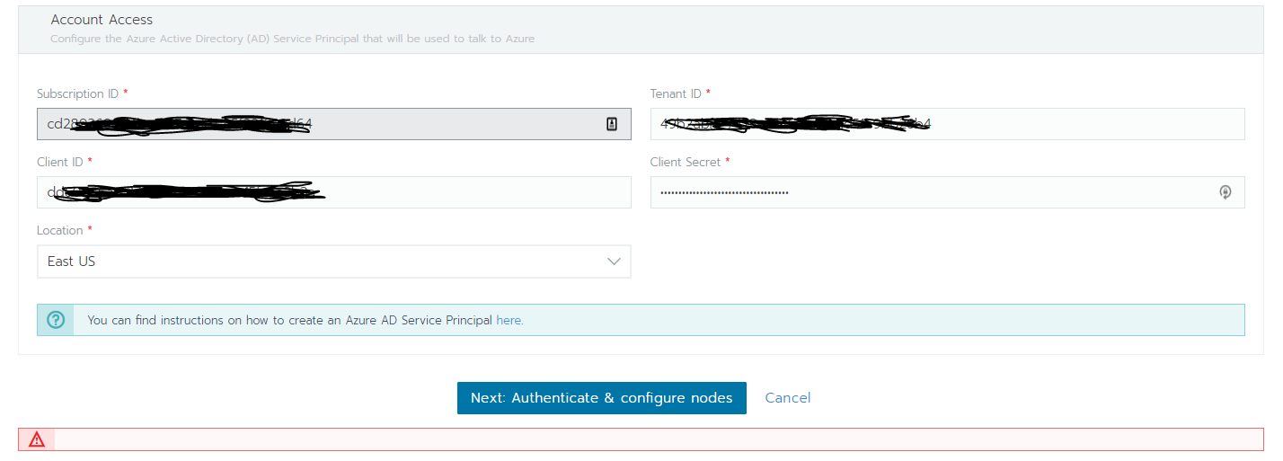Unsuccessful attempt to add Azure Container Service shows blank