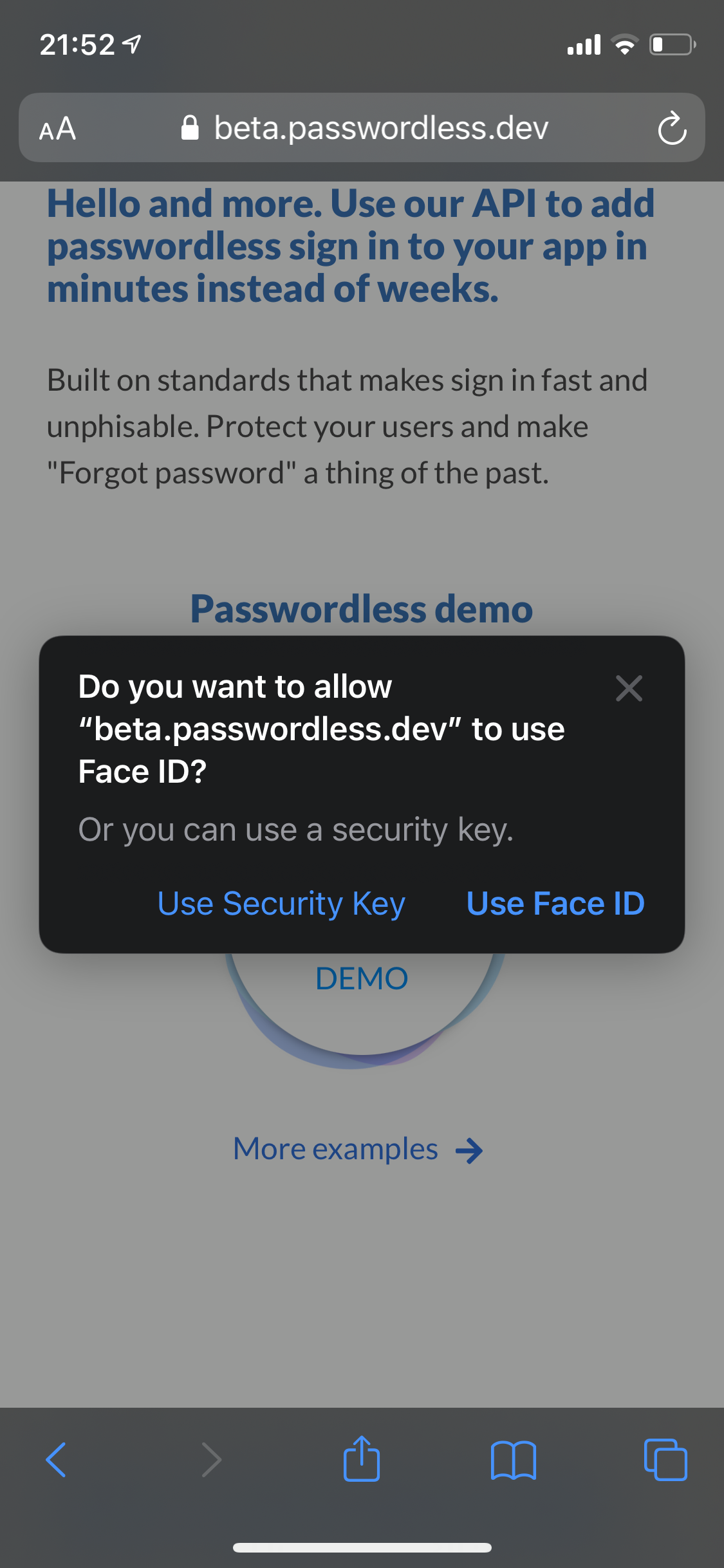 Sign in with FaceID - asp.net