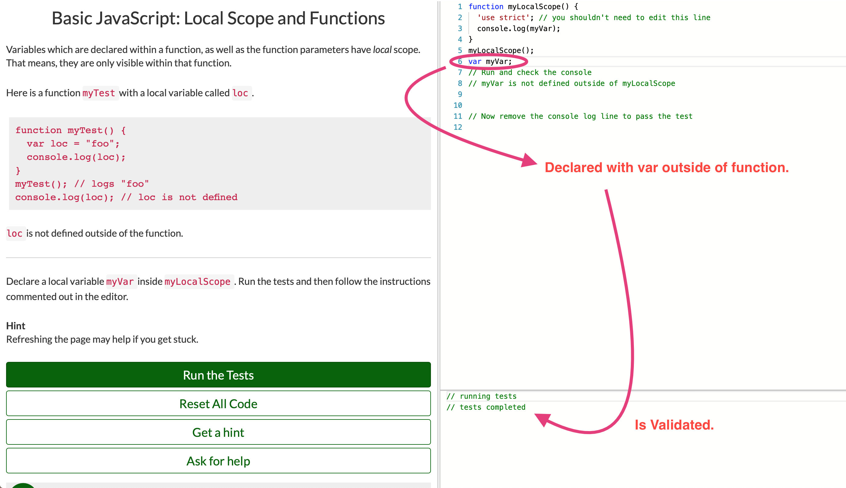 Basic JavaScript: Local Scope and Functions, global variable