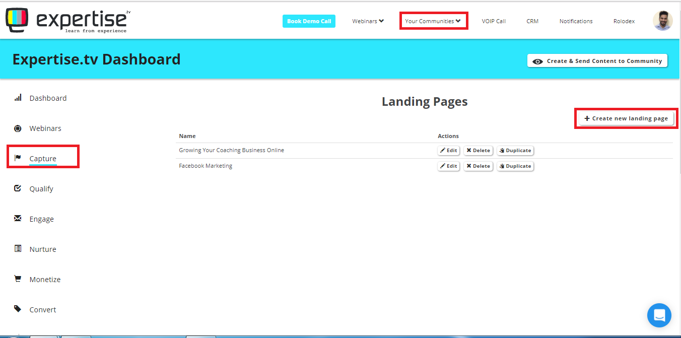 setting up your landing page 1