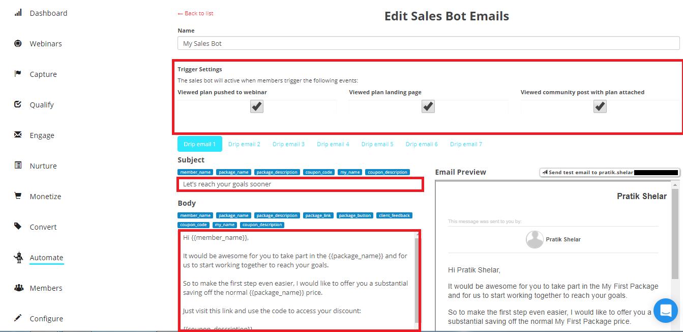 sales bot email set up