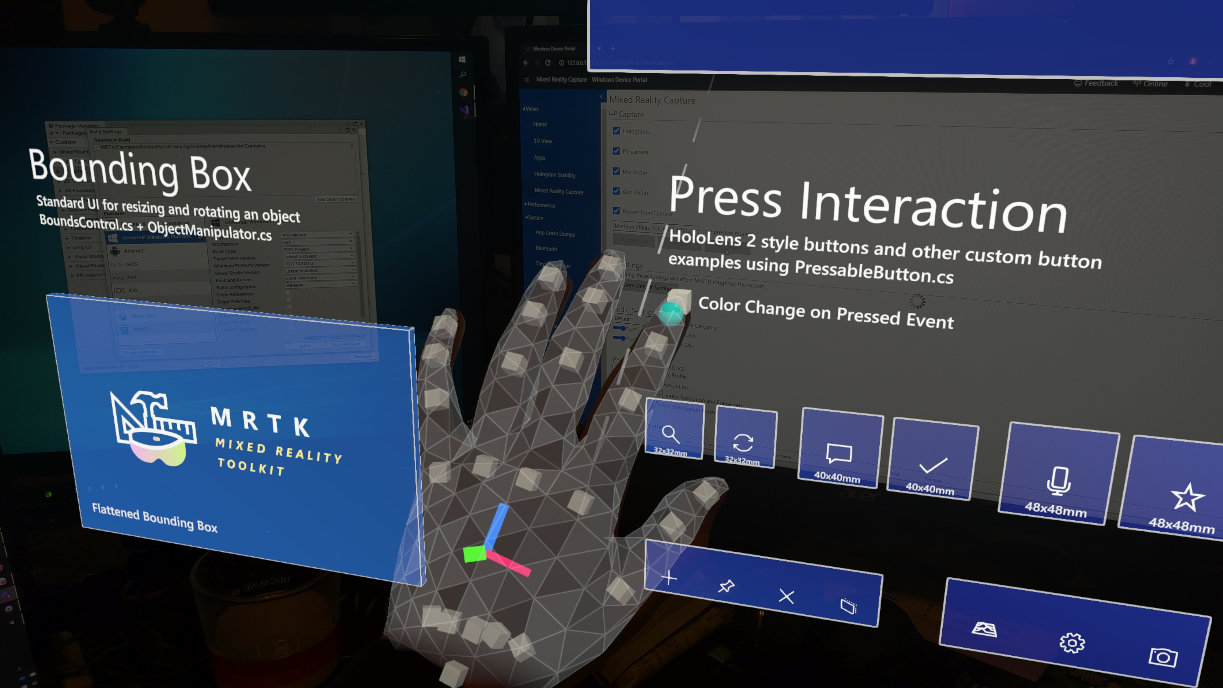 The hand mesh running on-device in an MRTK example scene