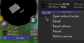 XP tracker sidebar does not update context menu after adding