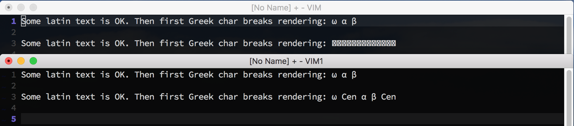 Wrong rendering of some chars · Issue #693 · macvim-dev
