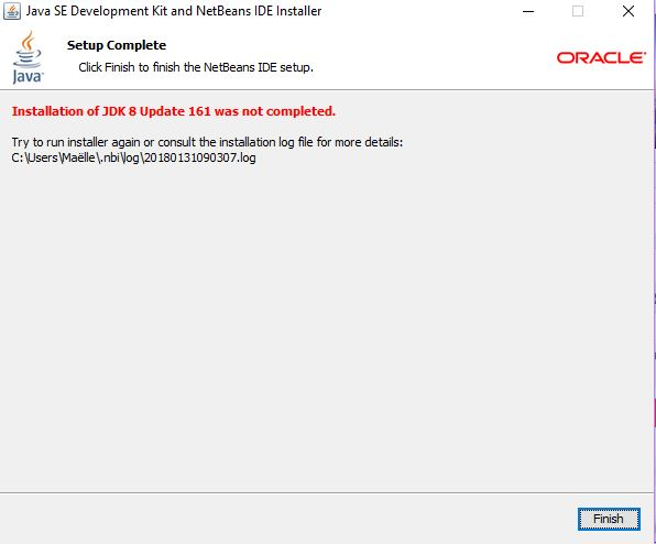 Installation of JDK 8 update 161 was not completed · Issue #13