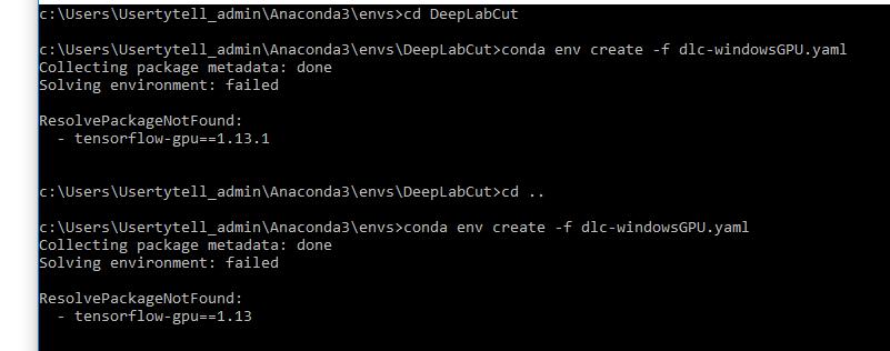error creating env on Windows: dlc-windowsGPU yaml