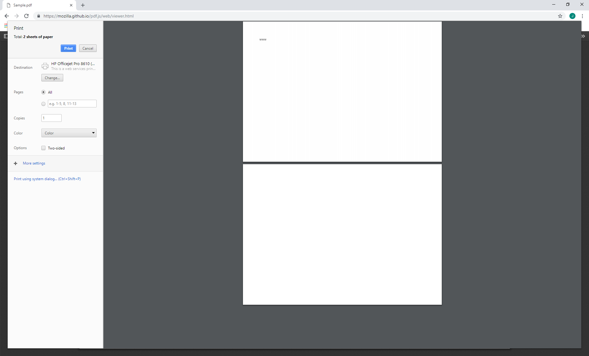 Empty page added in when printing from Viewer in Chrome