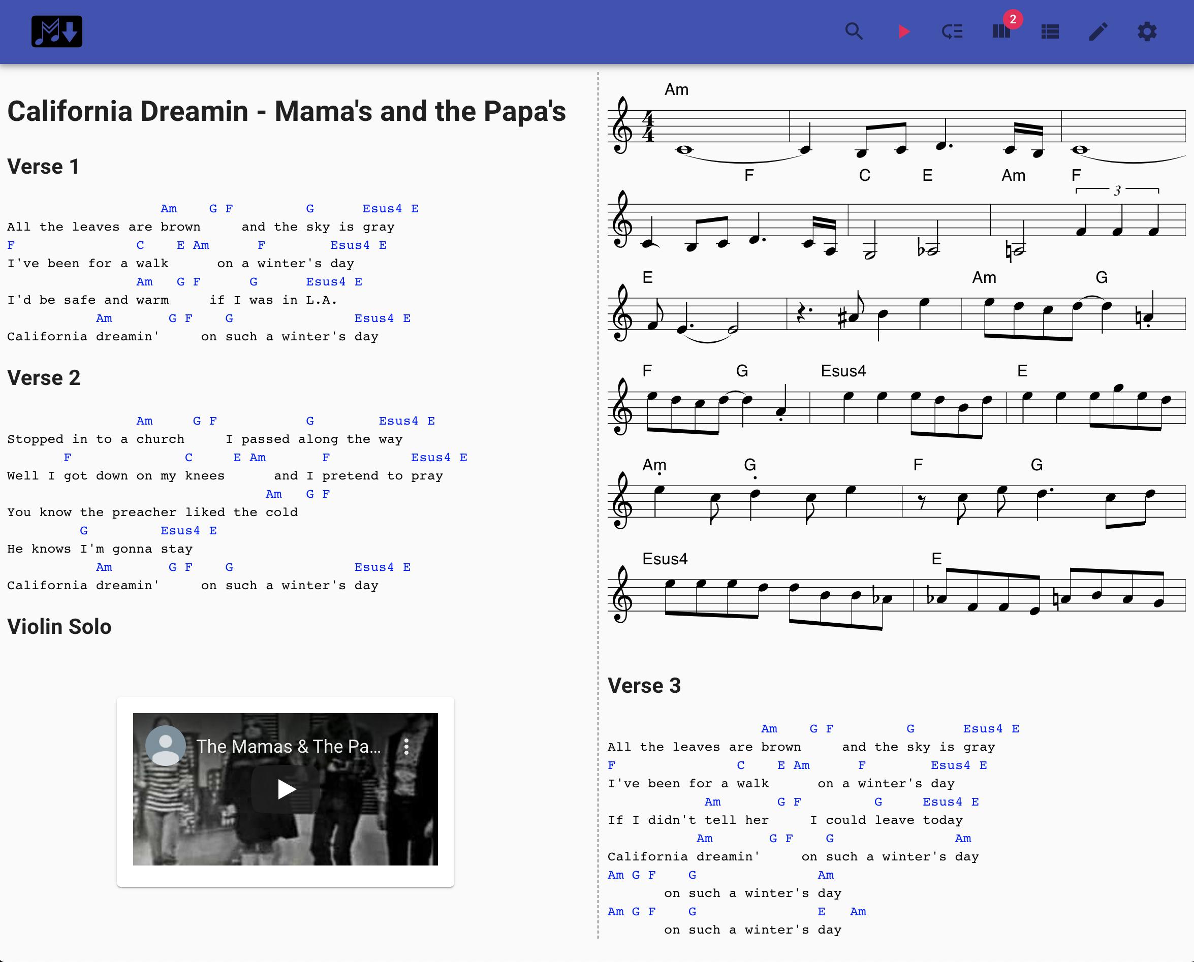 Music Markdown Screenshot