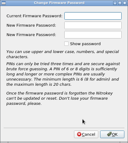 Smart dialogue for firmware password · Issue #289 · Nitrokey