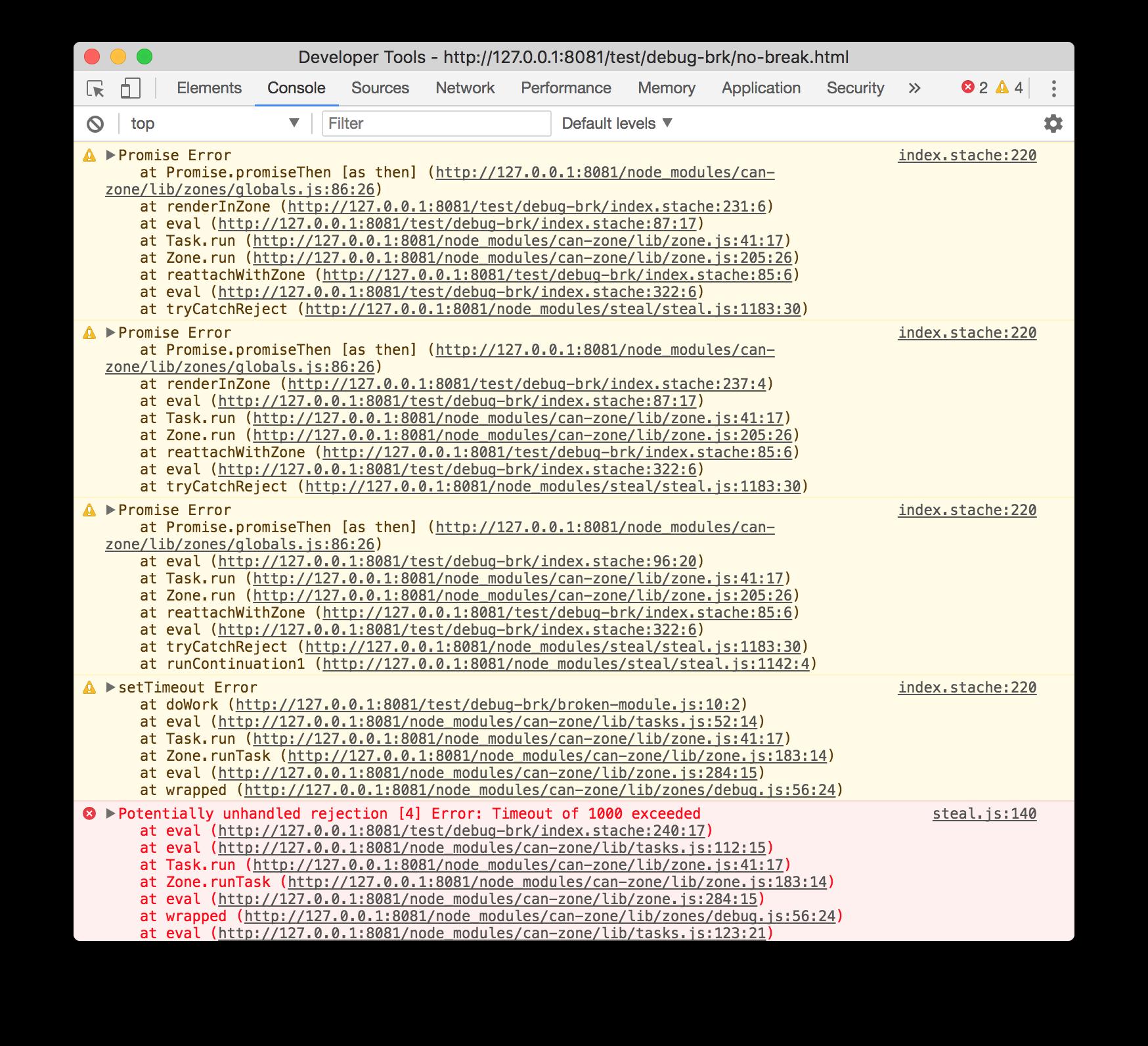 debug stack traces