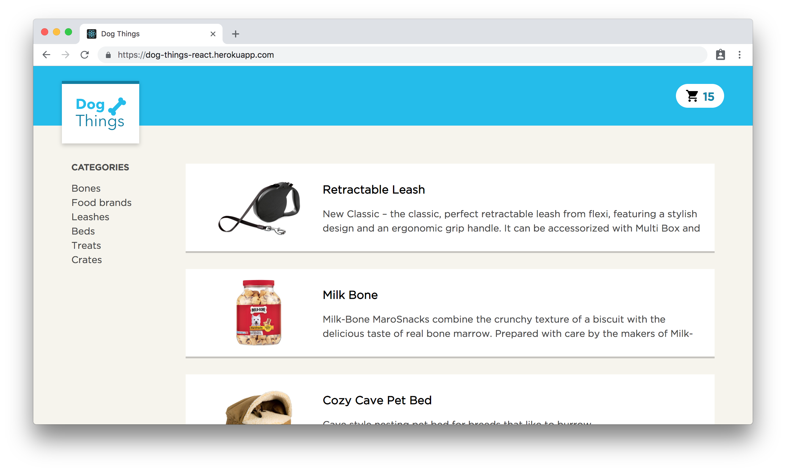 The Dog Things example app for React