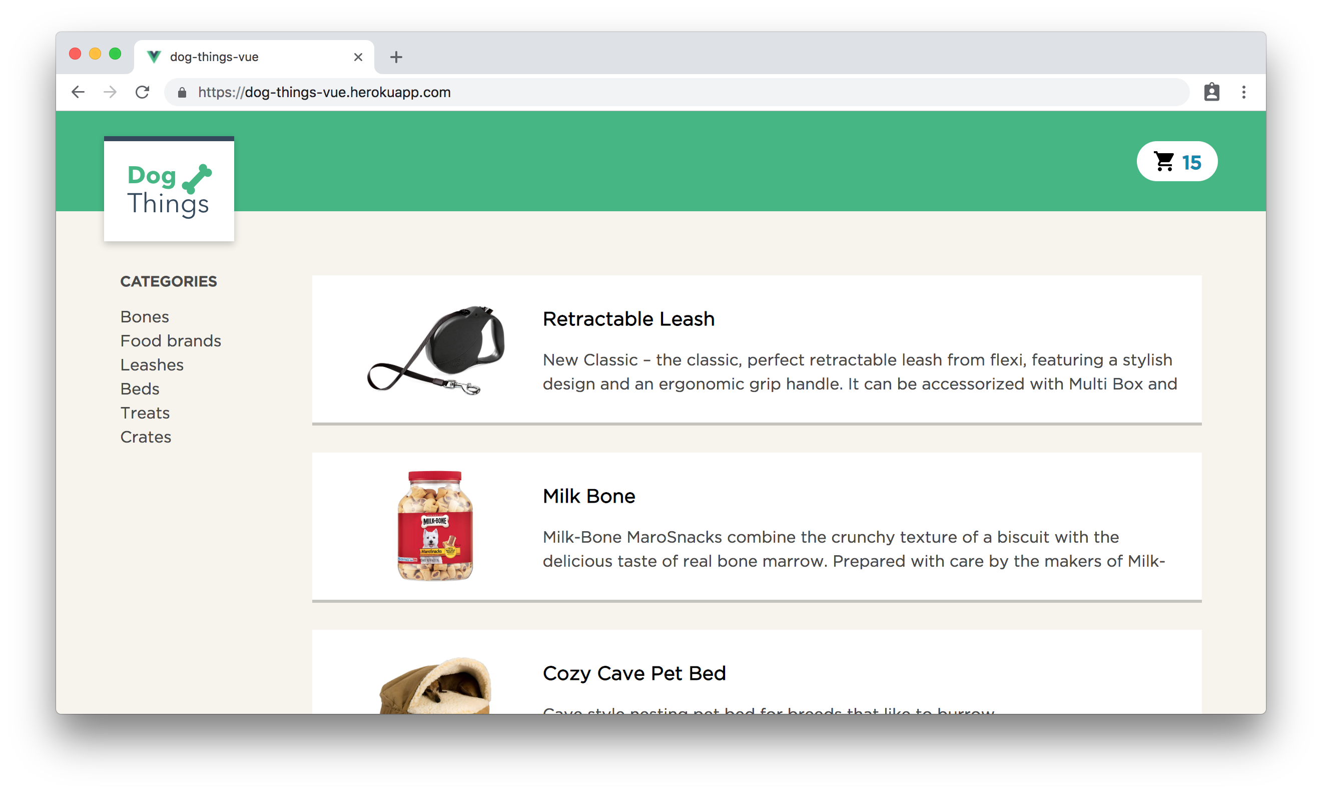 The Dog Things example app for Vue