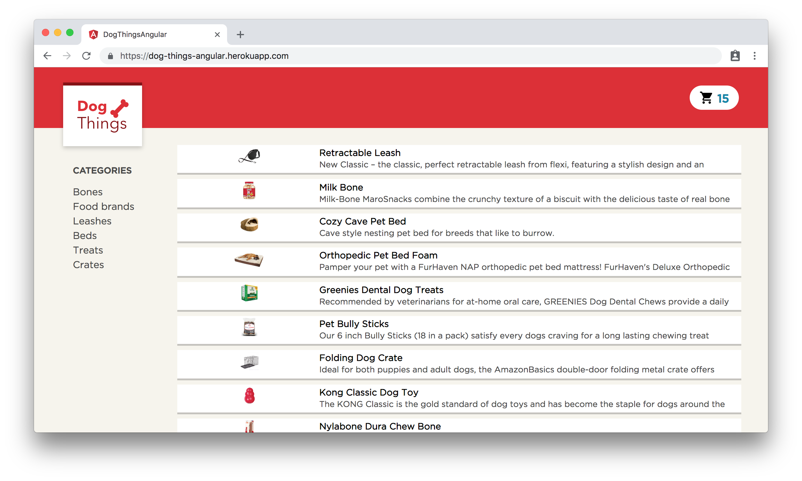 The Dog Things example app for Angular