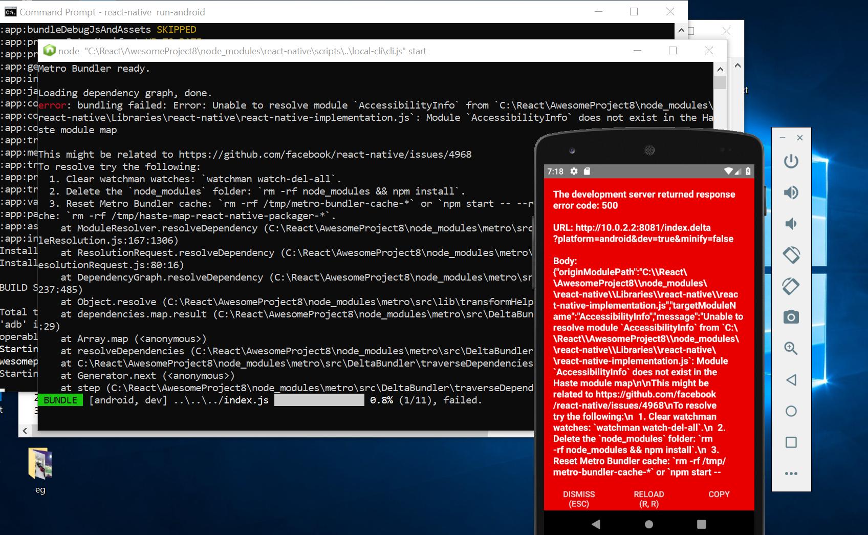 The development server returned response error code: 500