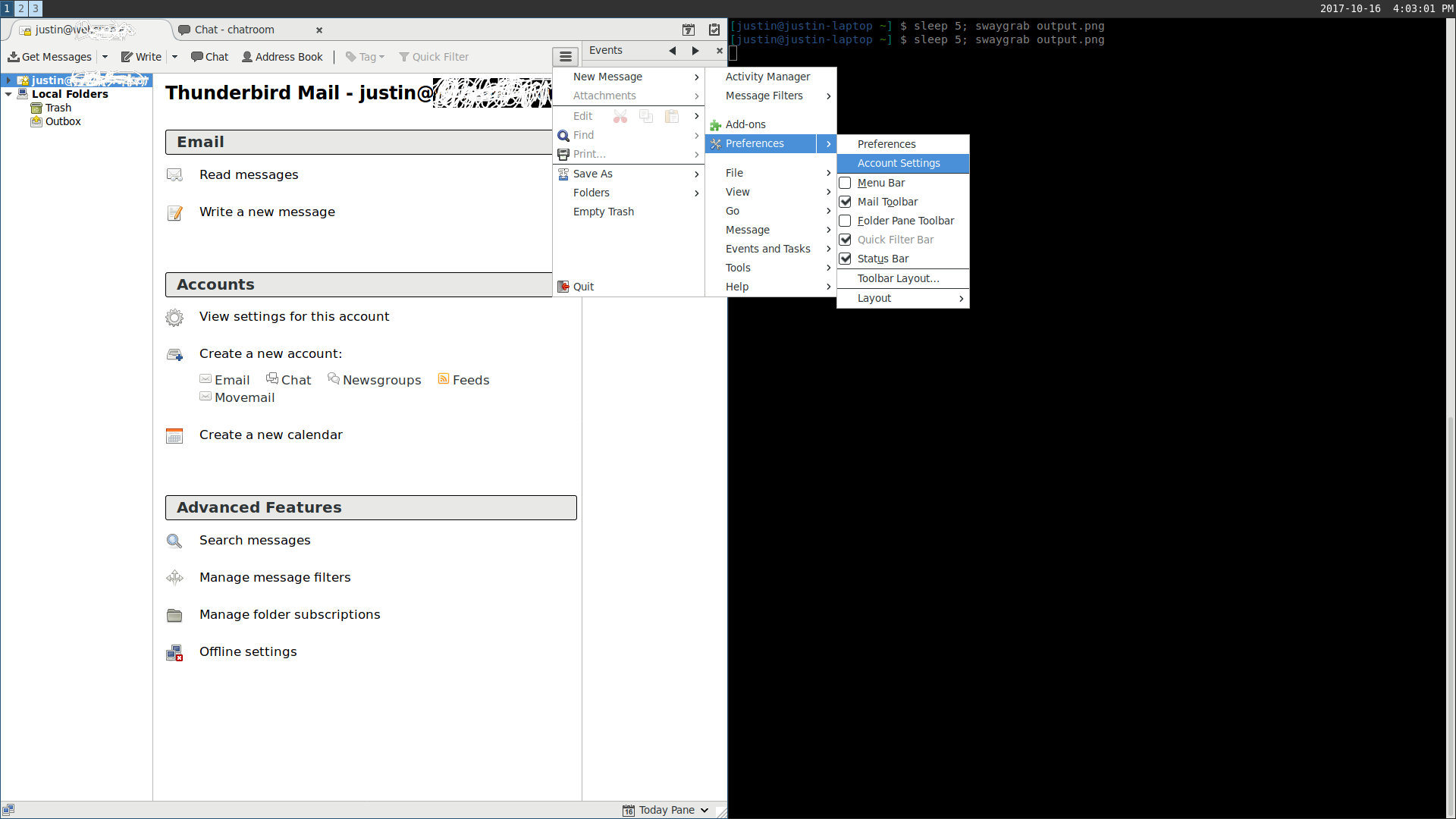 sway-0 14: Thunderbird account settings window opens like a