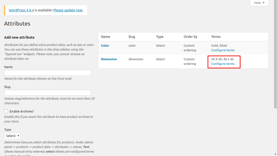Issue in attribute term import via woocommerce Legacy API · Issue