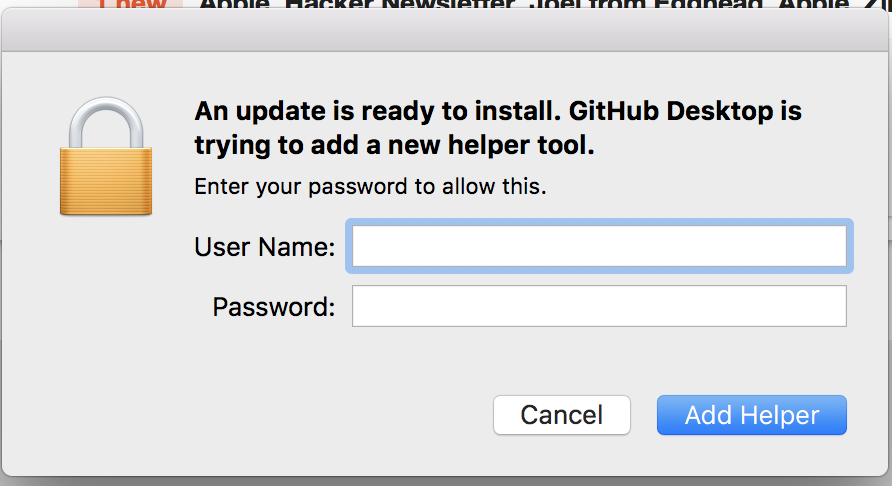 GitHub Desktop for Mac keeps asking me for root access to install