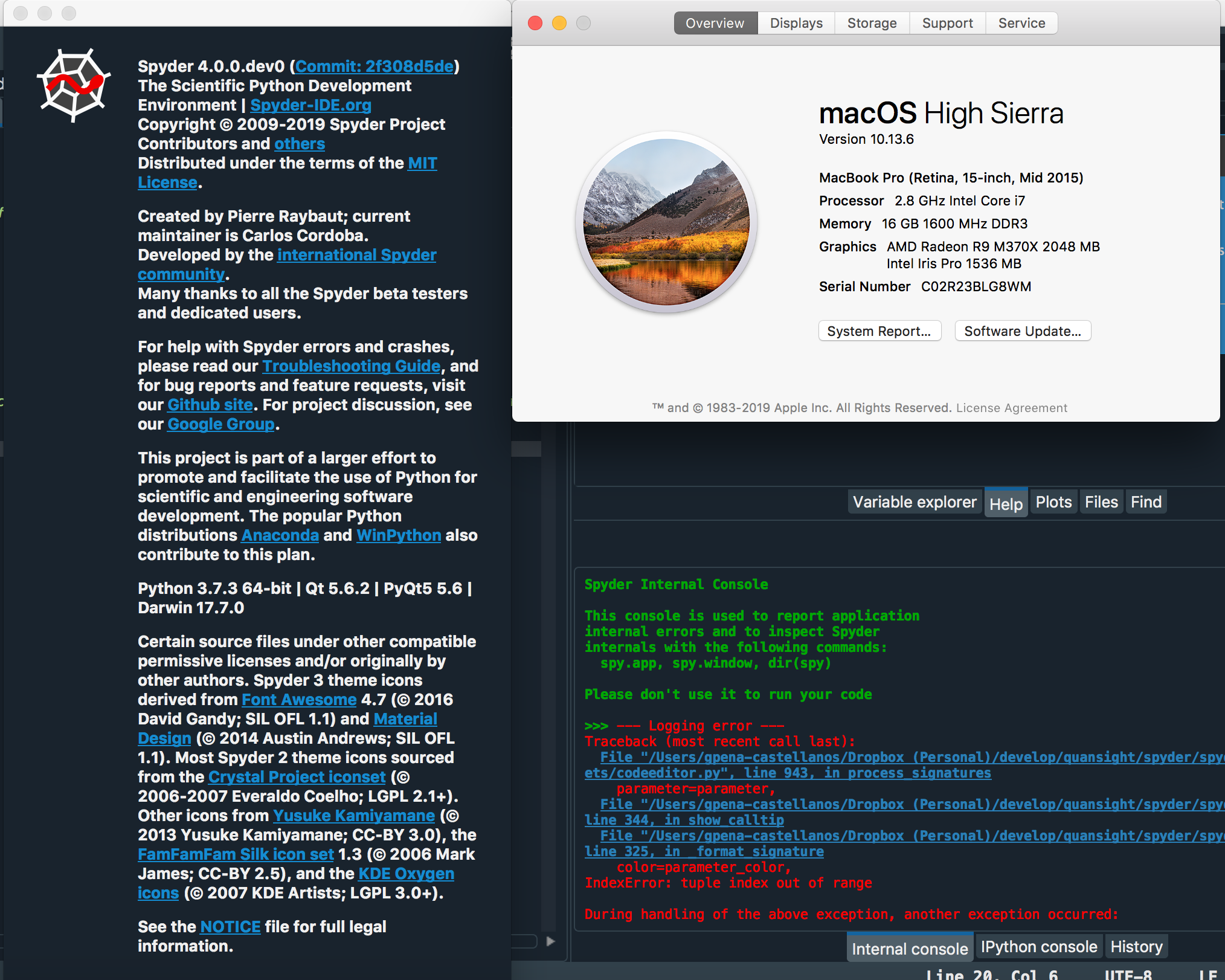 About dialog on OSX is too big and bolded · Issue #9298 · spyder-ide