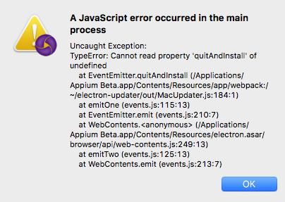 JavaScript error when attempting to update Appium · Issue