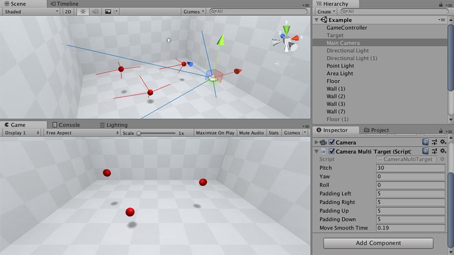 Camera Multi Target Example Scene Screenshot