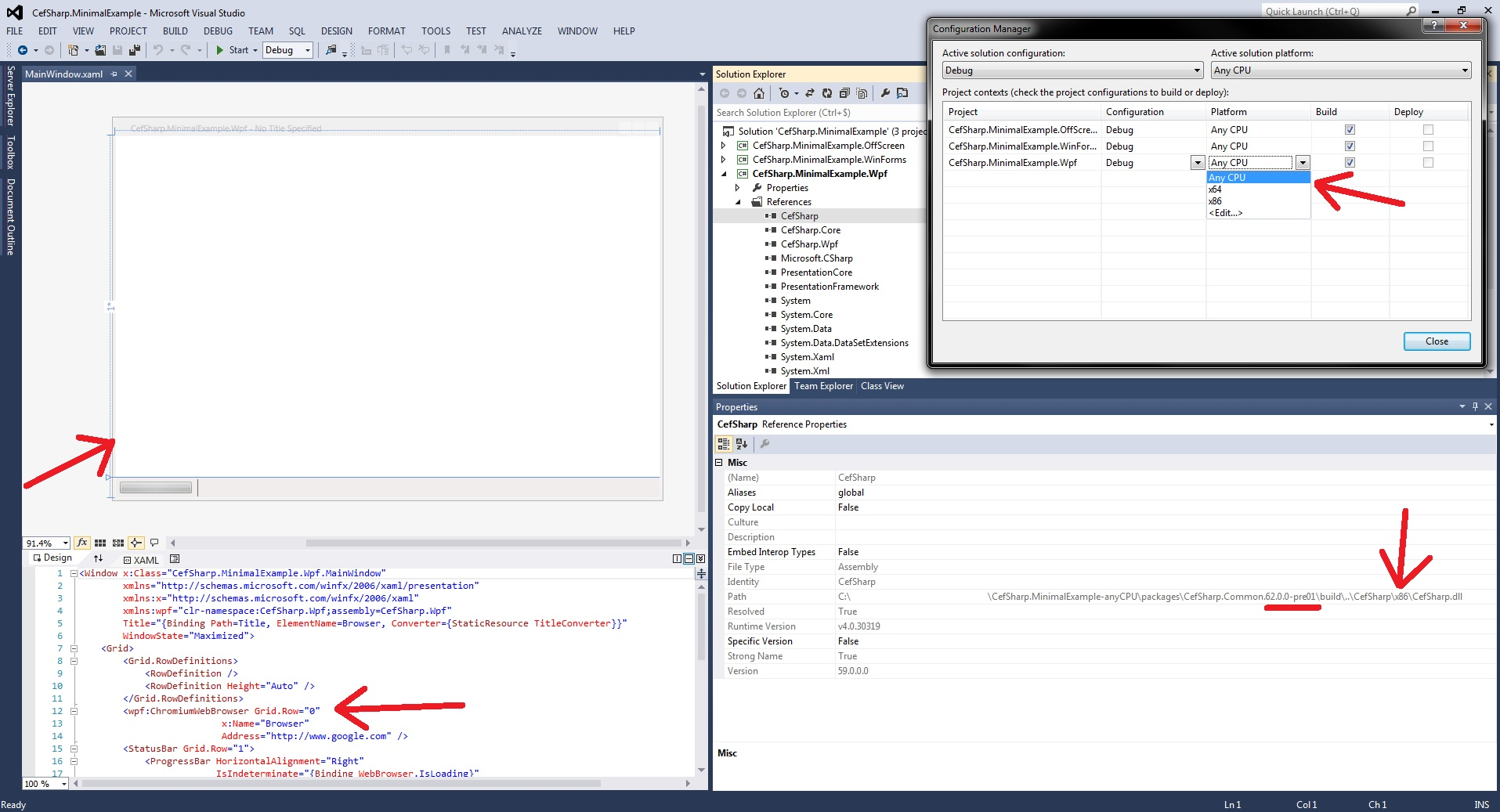 Visual Studio Designer issue when target is AnyCPU (63 0 0