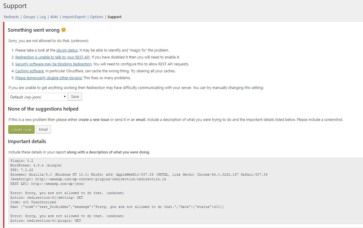 Redirection Error · Issue #774 · johngodley/redirection · GitHub