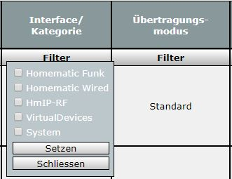homematic wired aktor in gerateauflistung filter