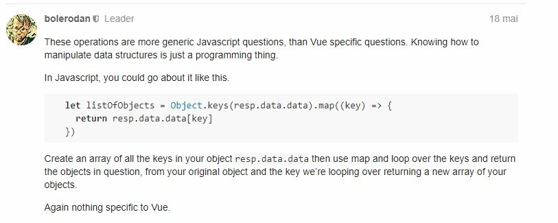 How to convert an object to an array from an api in Vue js