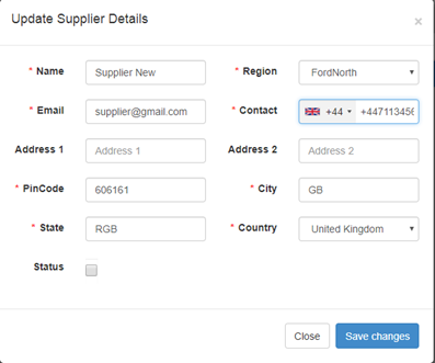 How to set the country code when opening a popup from edit link of a