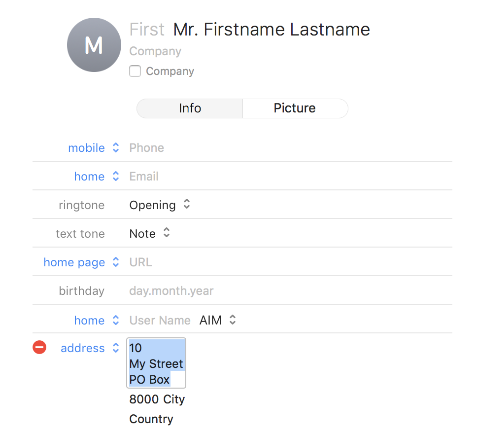 "address format in vcard - still shown in ""french"" · issue #52"