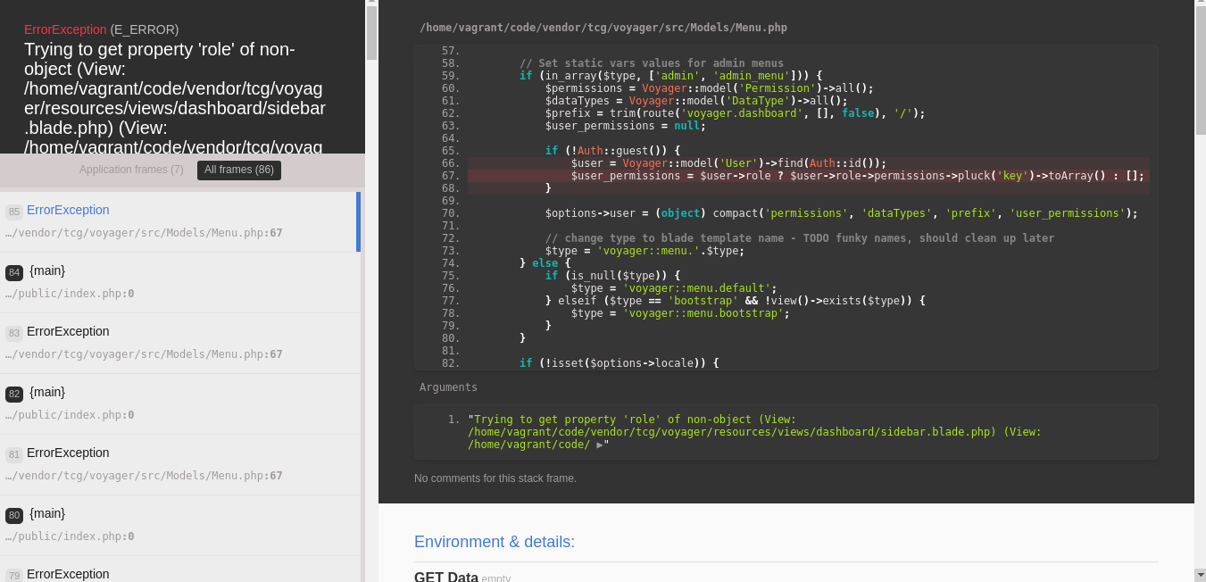 Trying to get property 'role' of non-object (View: /home