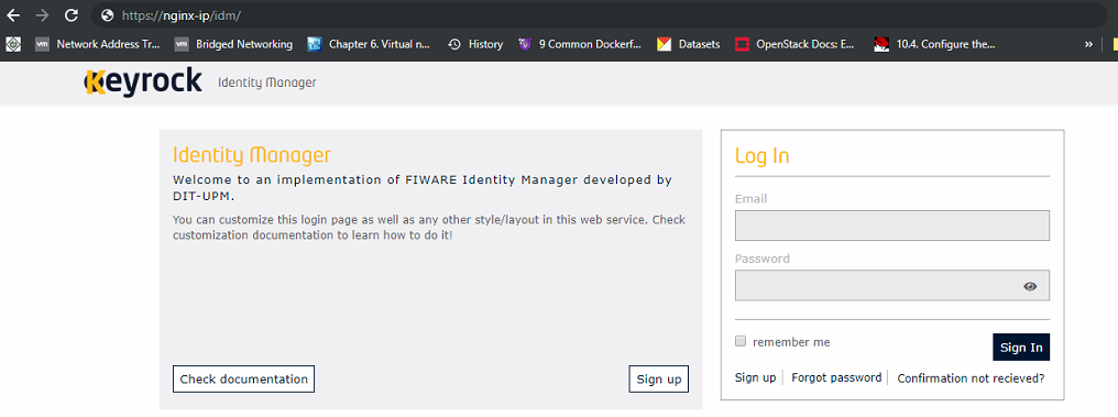 Unable to integrate fiware keyrock with Nginx reverse proxy server