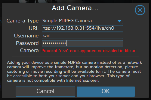 Unable to connect IP Camera · Issue #765 · ccrisan/motioneye