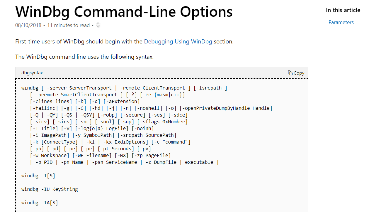 command line ooptions like windbg or gdb · Issue #2201