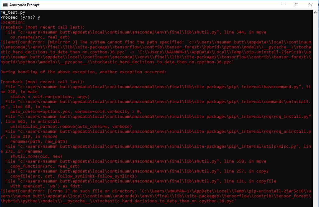 uninstall tensorflow from windows · Issue #8785 · tensorflow