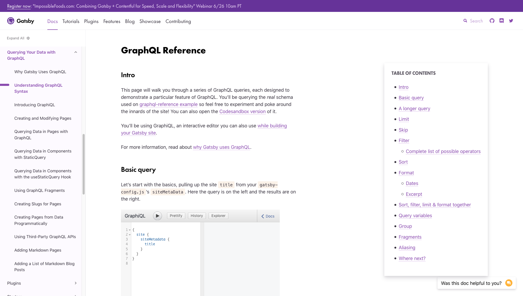 GraphQL Reference page with TOC on right for large display