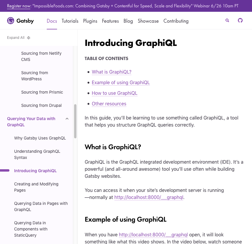 Introducing GraphQL page with TOC inline on mid-sized display