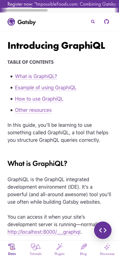 Introducing GraphQL page with TOC inline on phone-sized display