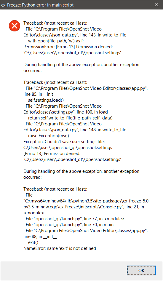 OpenShot Video Player will not open on Windows 10 64bit