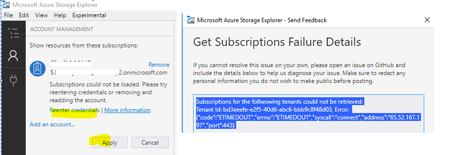 Storage Explorer Subscription cannot be loaded · Issue #996