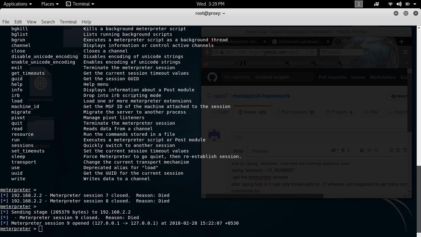 meterpreter windows help commands missing · Issue #9645