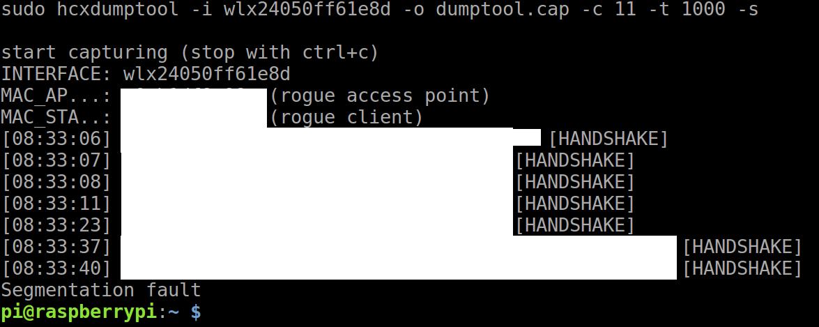 Raspberry pi terminates wlandump-ng · Issue #40 · ZerBea/hcxtools