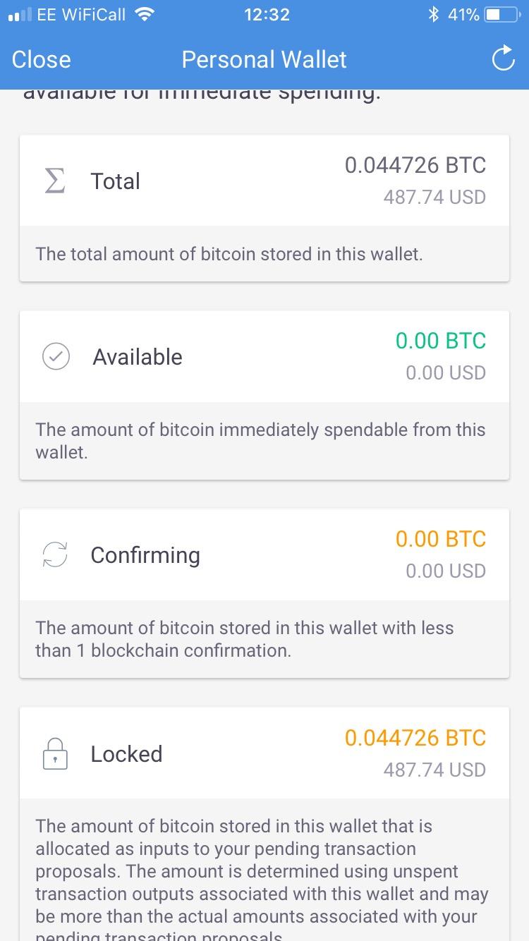 pending blockchain confirmation