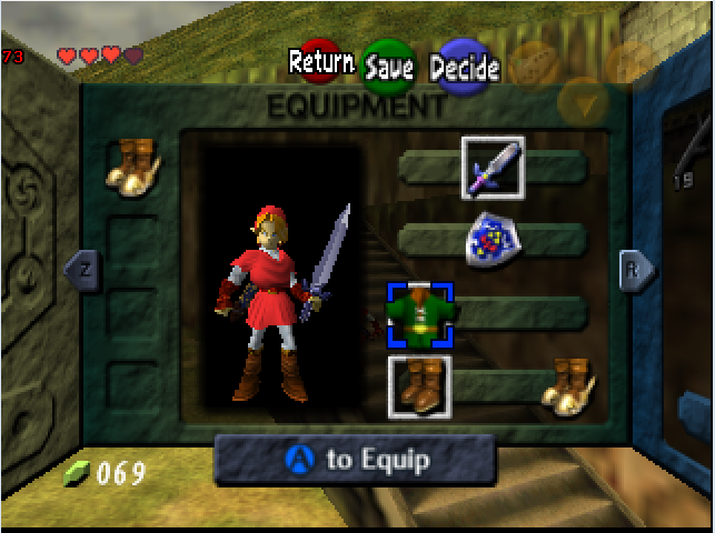 can't equip hylian shield with certain inventory layout