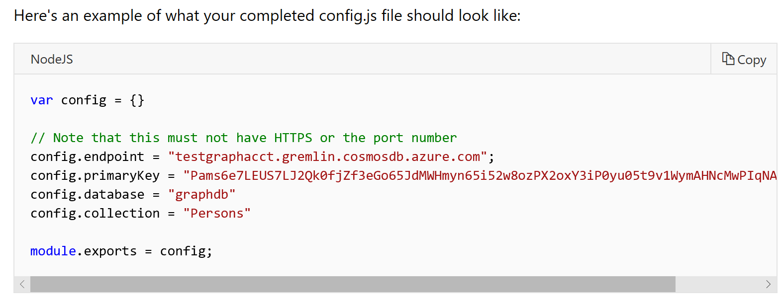 Update Node js docs for cosmos db graph API · Issue #16500