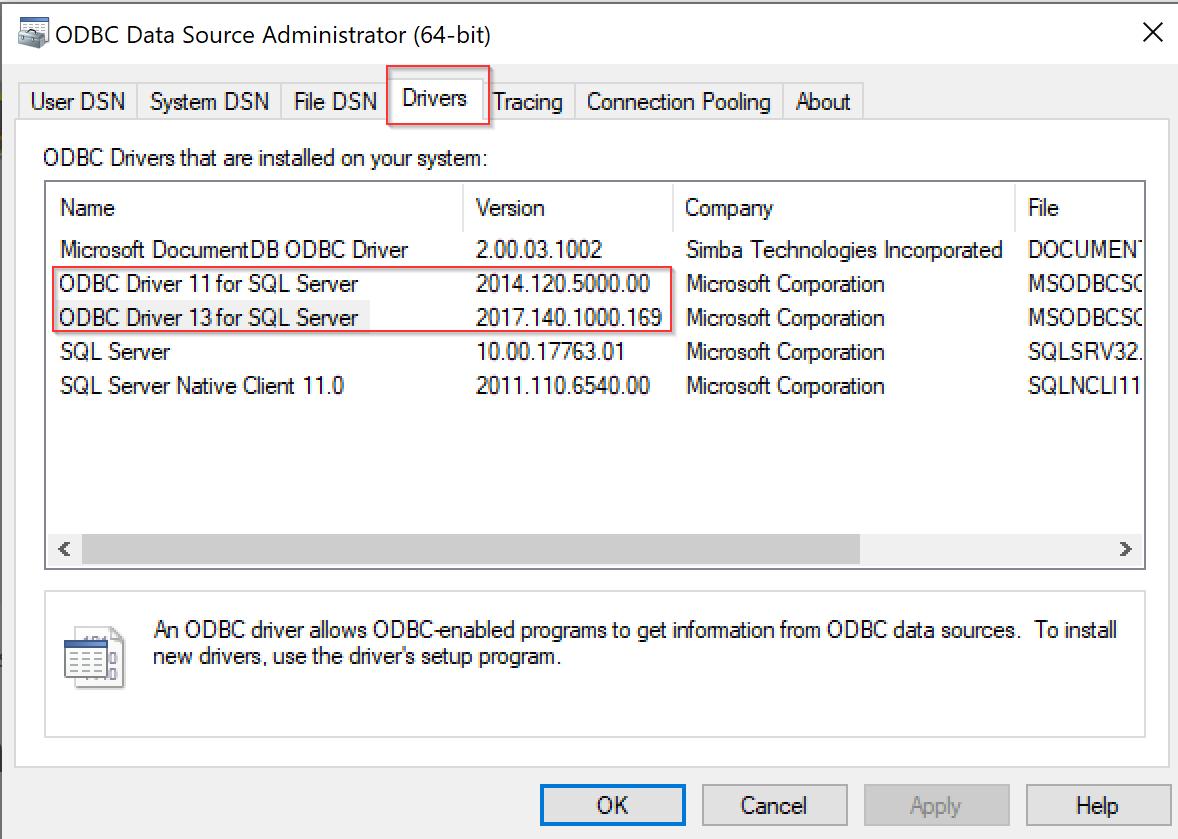 Error = [Microsoft][ODBC Driver 13 for SQL Server][SQL Server